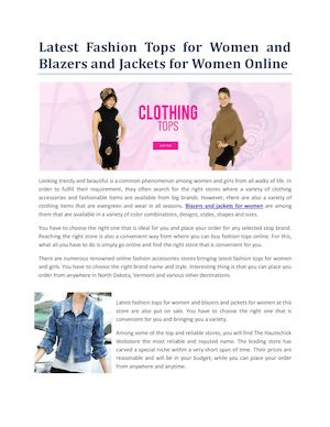 Latest Fashion Tops For Women And Blazers And Jackets For Women Online