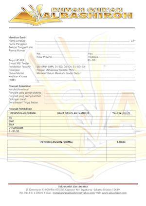Calaméo Formulir Pendaftaran Rumah Quran Sunnah Al Bashiroh