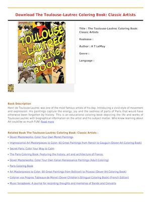 Download The Toulouse Lautrec Coloring Book Classic Artists