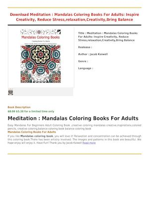 Review Meditation Mandalas Coloring Books For Adults Inspire Creativity Reduce Stressrelaxation