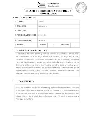 A0064silabo Consejeria Personal Y Profesional