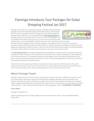 Flamingo Introduces Tour Packages for Dubai Shopping Festival Jan 2017