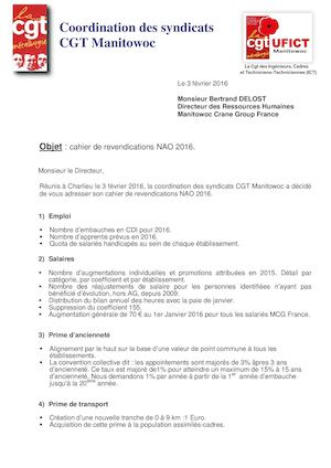Revendications NAO 2016 Syndicat Cgt Manitowoc