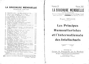 « Les Principes humanitaristes et l'Internationale des intellectuels », par Eugen Relgis