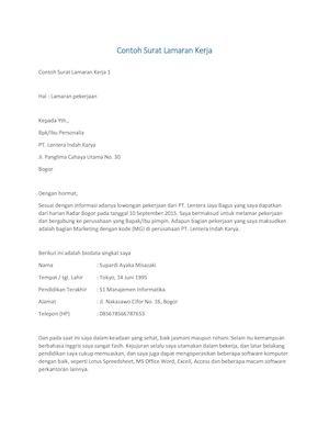 Calameo Contoh Surat Lamaran Kerja