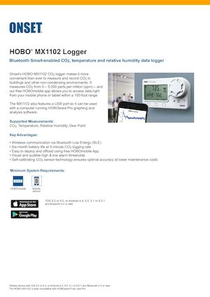 Onset HOBO MX1102 CO2 Datenlogger Datenblatt
