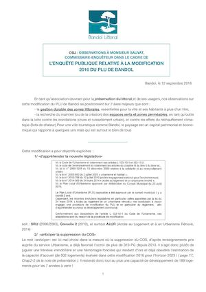 Nos Observations du PLU en modification - par Bandol Littoral