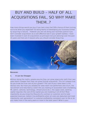 Buy And Build – Half Of All Acquisitions Fail, So Why Make Them