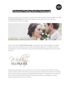 Professional Wedding Florist In Peterborough
