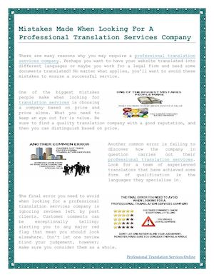 Mistakes Made When Looking For A Professional Translation Services Company