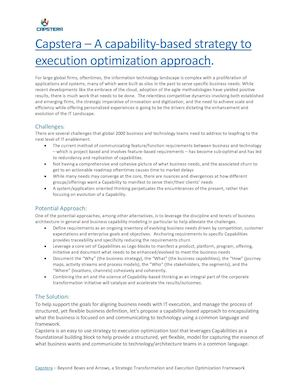 Capstera - Capability based Strategy to Execution Linkage and Optimization