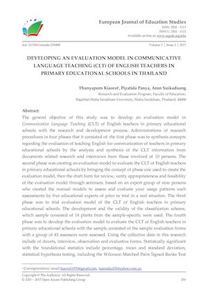 DEVELOPING AN EVALUATION MODEL IN COMMUNICATIVE LANGUAGE TEACHING (CLT) OF ENGLISH TEACHERS IN PRIMARY EDUCATIONAL SCHOOLS IN THAILAND