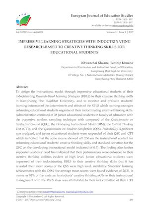 IMPRESSIVE LEARNING STRATEGIES WITH INDOCTRINATING RESEARCH-BASED TO CREATIVE THINKING SKILLS FOR EDUCATIONAL STUDENTS
