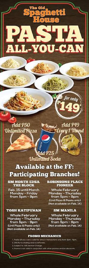 Enjoy Pasta All You Can For Only P149 At Participating Old Spaghetti House Branches This February 89348