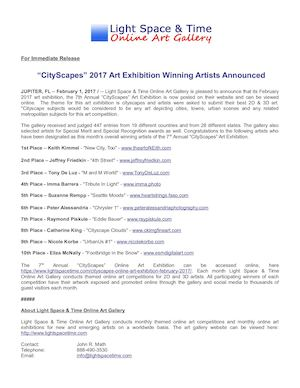 Cityscapes 2017 Art Exhibition Winners Press Release