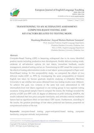 TRANSITIONING TO AN ALTERNATIVE ASSESSMENT: COMPUTER-BASED TESTING AND  KEY FACTORS RELATED TO TESTING MODE