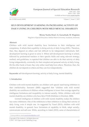 SELF-DEVELOPMENT LEARNING IN INCREASING ACTIVITY OF DAILY LIVING IN CHILDREN WITH MILD MENTAL DISABILITY