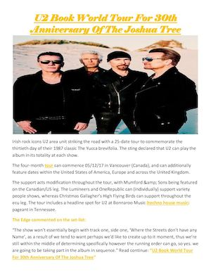 U2 Book World Tour For 30th Anniversary Of The Joshua Tree