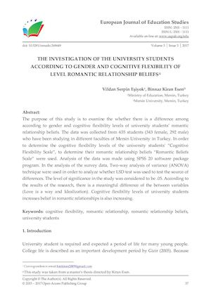 THE INVESTIGATION OF THE UNIVERSITY STUDENTS ACCORDING TO GENDER AND COGNITIVE FLEXIBILITY OF LEVEL ROMANTIC RELATIONSHIP BELIEFS