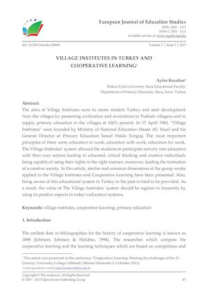 VILLAGE INSTITUTES IN TURKEY AND COOPERATIVE LEARNING