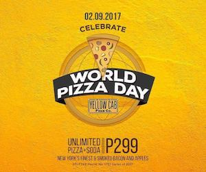 Celebrate World Pizza Day With Unlimited Pizza Soda For Only P299 At Yellow Cab On Feb 9 2017 89500