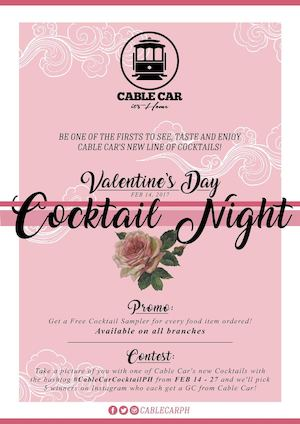 Be One Of The Firsts To Taste The New Line Of Special Cocktails At Cable Car On Feb 14 2017 89503