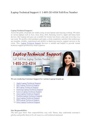 Best Laptop Technical Suppor @ 1 855 213 4314 Toll Free Number
