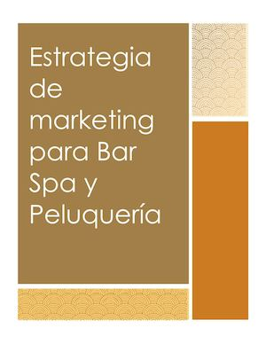 Estrategia De Marketing Para Bar Spa Y Peluquería