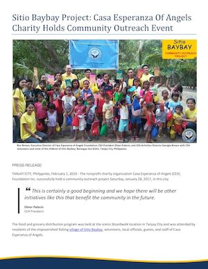 Sitio Baybay Project: Casa Esperanza Of Angels Charity Holds Community Outreach Event