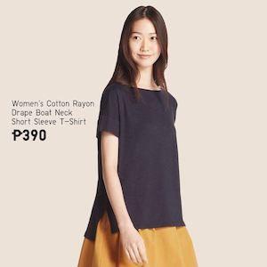 Get This Womens Cotton Rayon Drape Boat Neck Short Sleeve T Shirt For Only P390 At Uniqlo 89535