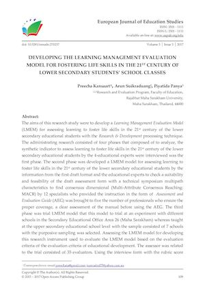 DEVELOPING THE LEARNING MANAGEMENT EVALUATION MODEL FOR FOSTERING LIFE SKILLS IN THE 21ST CENTURY OF LOWER SECONDARY STUDENTS' SCHOOL CLASSES