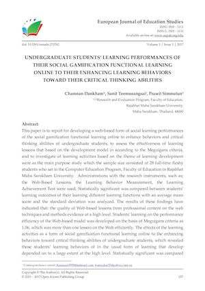 UNDERGRADUATE STUDENTS' LEARNING PERFORMANCES OF THEIR SOCIAL GAMIFICATION FUNCTIONAL LEARNING  ONLINE TO THEIR ENHANCING LEARNING BEHAVIORS TOWARD THEIR CRITICAL THINKING ABILITIES