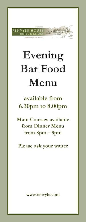 Renvyle House Evening Bar Food Menu