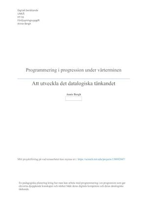 Programmering I Progression Uppgift 3