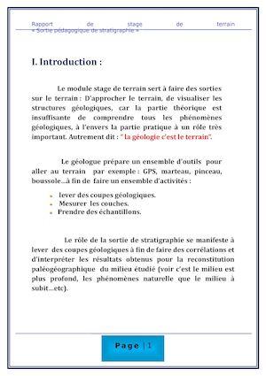 Calam o rapport de la pal ontologie for Introduction rapport de stage cuisine