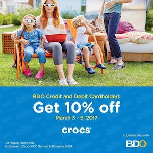 Enjoy 10 Off On Regulat Items With Your Bdo Card At Crocs Valid On March 3 5 2017 Only 90116