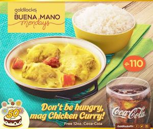 Order A Plate Of Chicken Curry For Only P110 Get A Free 12oz Coca Cola At Goldilocks 90124