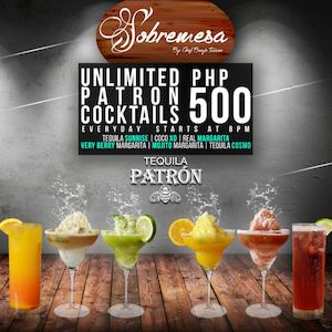 Enjoy Unlimited Patron Cocktails For Only P500 At Sobremesa Available Daily From 8pm Onwards 90129