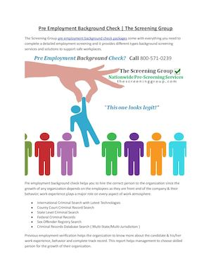 What is Pre Employment Background Check Services?