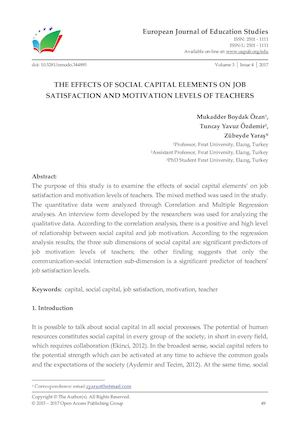 THE EFFECTS OF SOCIAL CAPITAL ELEMENTS ON JOB SATISFACTION AND MOTIVATION LEVELS OF TEACHERS