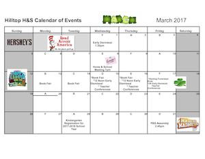 Home & School Calendar March 2017