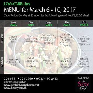 Order Your Low Carb Lites For Next Week From The Sexy Chef Valid Until March 5 2017 90154