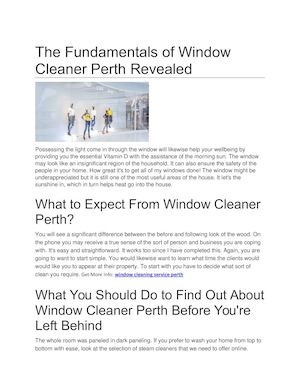 window cleaner perth