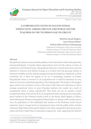 A COMPARATIVE STUDY OF OCCUPATIONAL  STRESS LEVEL AMONG PRIVATE AND PUBLIC SECTOR TEACHERS IN THE TECHIMAN SOUTH CIRCUIT