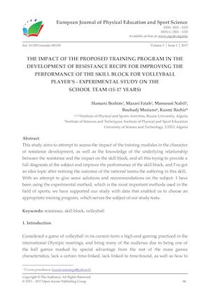 THE IMPACT OF THE PROPOSED TRAINING PROGRAM IN THE DEVELOPMENT OF RESISTANCE RECIPE FOR IMPROVING THE PERFORMANCE OF THE SKILL BLOCK FOR VOLLEYBALL PLAYER'S - EXPERIMENTAL STUDY ON THE  SCHOOL TEAM (15-17 YEARS)