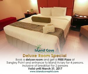 Book A Deluxe Room Get A Free Pizza At Island Cove Hotel Leisure Until March 31 2017 90669
