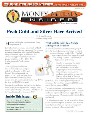 Money Metals Insider Winter 2016: Peak Gold and Silver Have Arrived
