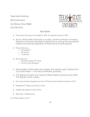 Texas State Fact Sheet