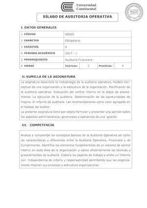 Calaméo A0035 Silabo Auditoria Operativa