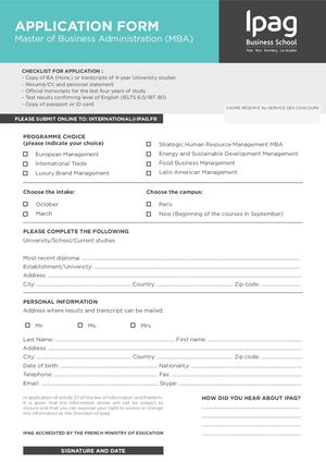 Application Form -MBA